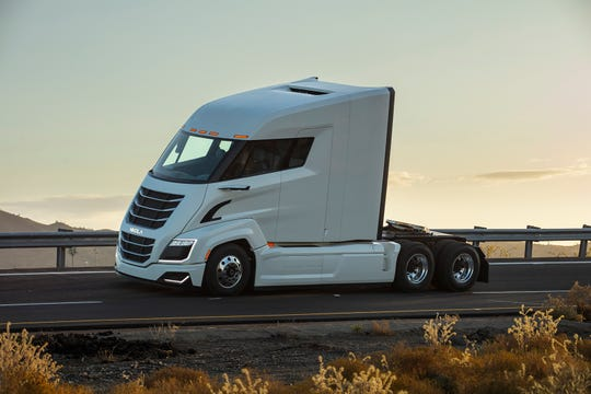 The Nikola Two fuel-cell powered big rig hauler, set for production in 2023. (Nikola/TNS)