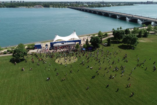A drone image of protesters at Gabriel Richard Park, Friday afternoon, June 5, 2020, at the foot of MacArthrur bridge which connects mainland Detroit to Belle Isle.