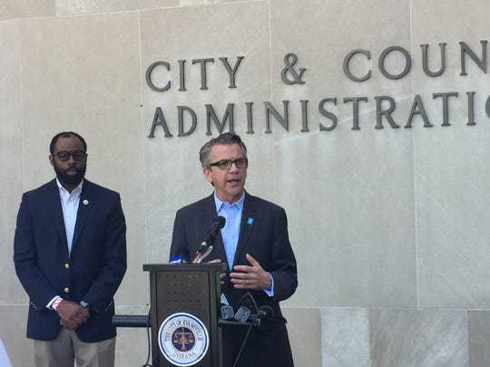 Evansville Mayor Lloyd  Winnecke and City Council President Alex Burton on Friday urged that protests of racial injustice in the city continue to be peaceful.