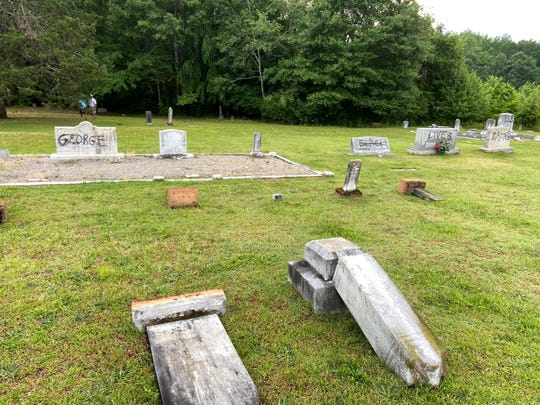 Tombstones were vandalized at a Powdersville cemetery this week.