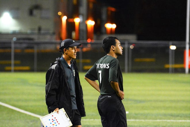 Roderick Hidalgo of the Triton Men's Soccer Team gets ready to substitute player Tristan Paulino into the game in this file photo.