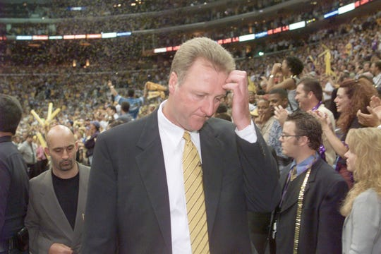 Indiana coach Larry Bird leaves the court for the last time as head coach after losing to the Lakers in Game 6.