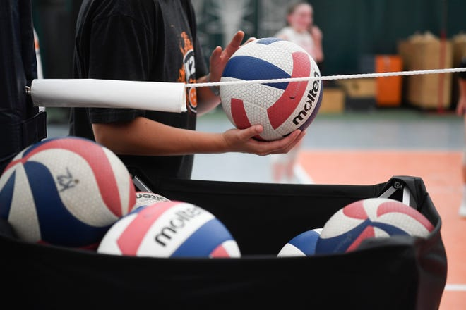 A basket of volleyballs are seen at K2 Volleyball Club, located at 2639 Topside Road in Louisville, Tenn., Friday, June 5, 2020. Various precautions are taken to limit potential spread of coronavirus.