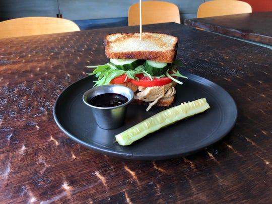 Scratch Farm Kitchen: Eat Like You Give A Cluck - roasted chicken on house milk bread with blueberry-caesar, local tomatoes, local lettuce, local cucumbers, melty provolone and side of blueberry jam + suyo long pickle spear.