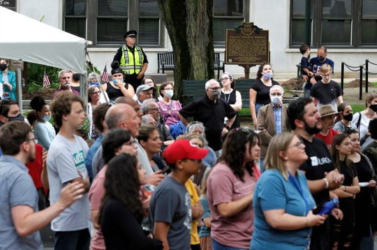 More than 200 people gathered in Zane Square for a peace rally Thursday, June 4. The event was dedicated to citizen unity and speaking out against police brutality towards people of color following George Floyd's death while in police custody in Minneapolis May 25.