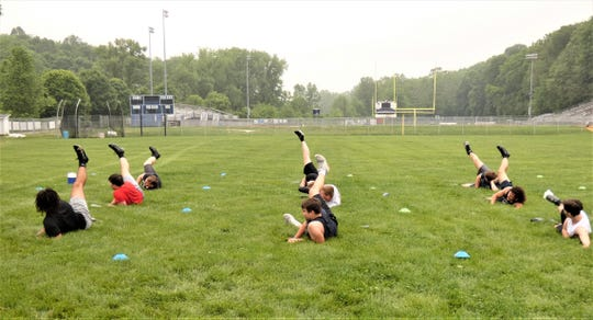 More than 50 members of the Lancaster football team took part in workouts Friday morning at Fulton Field.