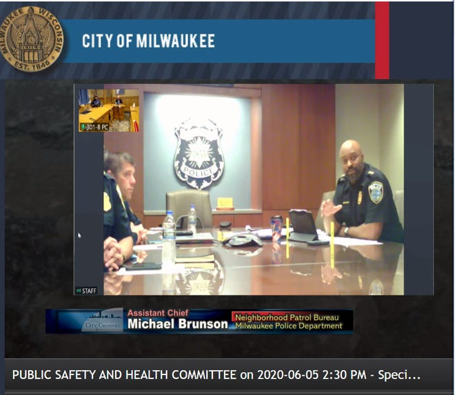 Milwaukee Assistant Police Chief Michael Brunson responds to questions from members of the Milwaukee Common Council regarding the Police Department's response to demonstrations that have stretched over the last eight days.