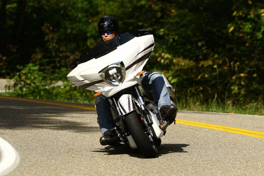 Tony McCarty of the band Jeff & The Johnsons rides his Victory Magnum X1 at the Tail Of The Dragon road in North Carolina. He's bringing his bike out Saturday to a show at WVC Motorcycle Garage in Prattville.