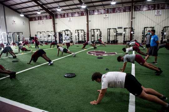 Football conditioning at Prattville High School in Prattville, Ala., on Wednesday, June 3, 2020.