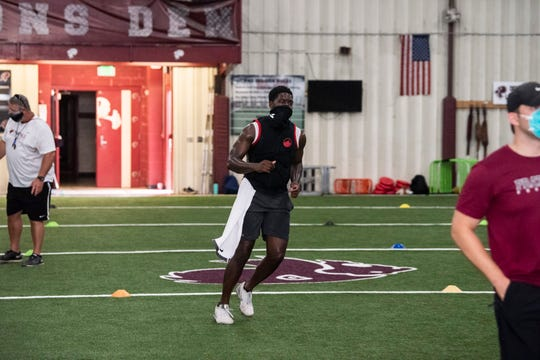 Prattville's Ian Jackson during football conditioning at Prattville High School in Prattville, Ala., on Wednesday, June 3, 2020.