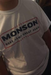 A T-shirt made by LAMP students when Matthew Monson became principal in 2016. Monson replaced a black principal.