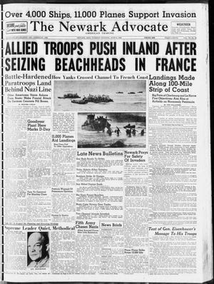 The front page from the June 6, 1944 edition of The Daily Advocate, the day Allied forces invaded Nazi-controlled France.