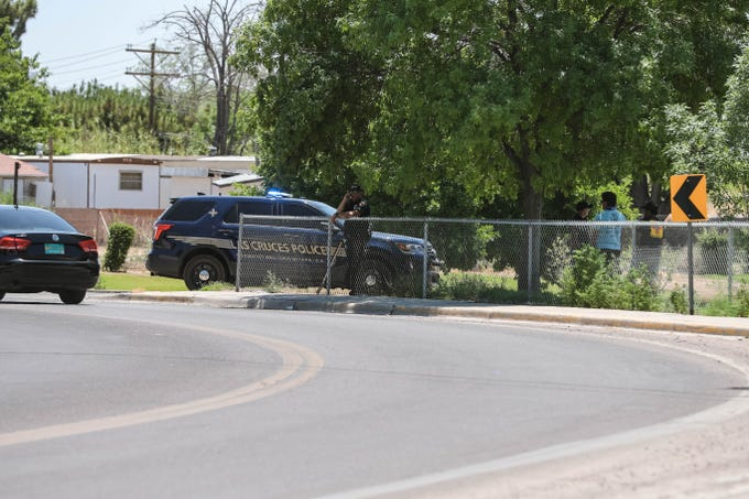 Police investigate reports of a shooting in the Alameda Boulevard/3 Crosses Avenue/Doña Ana Road area in Las Cruces on Friday, June 5, 2020.