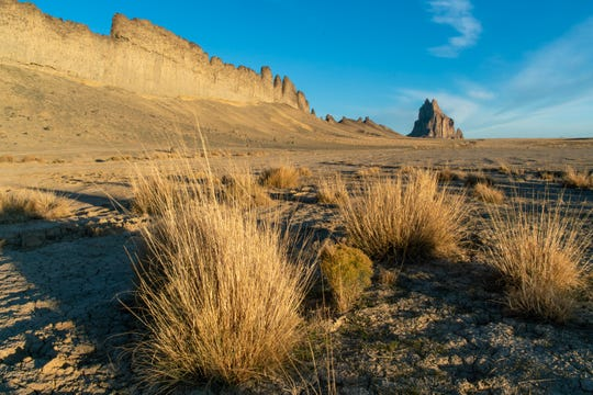 The iconic Shiprock formation is pictured on the Navajo Nation.