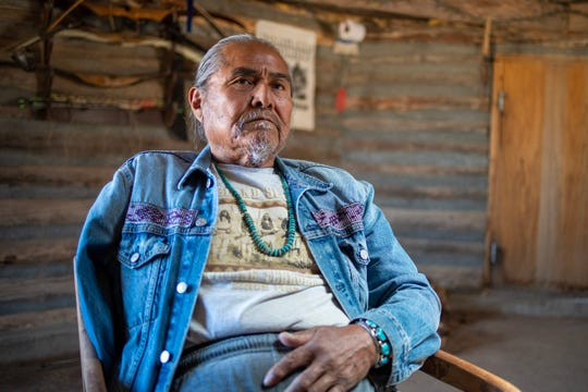 "Duane ""Chili"" Yazzie, president of the Shiprock Chapter of the Navajo Nation, sits in his ceremonial hogan outside of Shiprock."