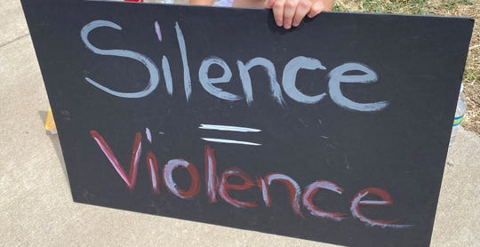 A sign displayed during the anti-racism protest in Ruidoso on June 4.