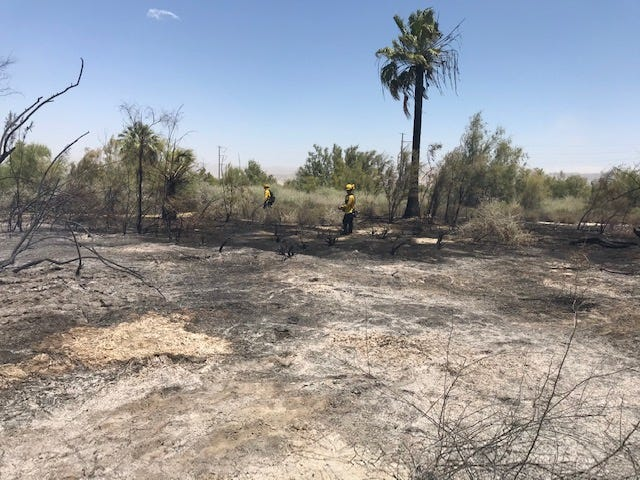 Cal Fire crews were able to get control of a vegetation fire in Mecca, on Highway 86 Expressway and Avenue 66,  and hold it to 3 to 4 acres on Friday, June 5, 2020.