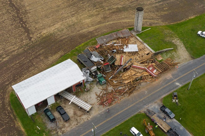 """A historic fifth-generation barn is seen the day after it was destroyed by strong winds on the 100 block of Dicks Dam Road, Friday, June 5, 2020, in Reading Township. """"I just can't believe it,"""" said Harold Howe, the owner of the farm. Howe had the farm passed onto him from his father that bought it in 1933. The family estimated the barn to be between 115-130 years old. No one was injured, though the storm forced Howe and family to shelter in their basements Thursday night."""