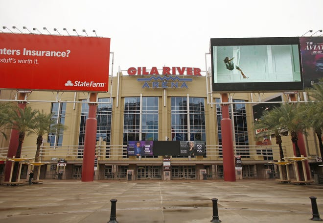 The empty exterior leading up to the Gila River Arena after the NHL suspended games due to the coronavirus in Glendale on March 12, 2020.