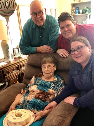 Jeri Loomis on her 93rd birthday on March 2, 2020, with her son Jan Loomis, grand daughter Jennifer Tann-Looomis and grand daughter-in-law Katie Tann-Loomis.