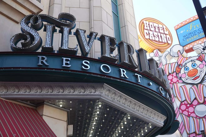 A view of one of the entrances to the Silver Legacy Resort Casino in downtown Reno. All casinos in Reno re-opened on June 4, 2020.