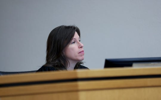 Judge Tracy Prall looks on during the sentencing of April Gamblin, for the shooting death of Joshua Tate, at the Marion County Courthouse in Salem, Oregon on Friday, June 5, 2020.
