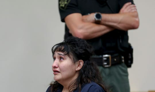 April Gamblin gets emotional as a memorial for Joshua Tate plays during her sentencing for the shooting death of Joshua Tate, at the Marion County Courthouse in Salem, Oregon on Friday, June 5, 2020.