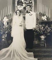 Barbara and Blaine Kuhn on their wedding day June 11, 1950 in Port Angeles, Washington.