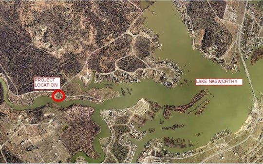 An image of Lake Nasworthy presented to city council June 2, 2020, regarding where improvements to San Angelo's Middle Concho Park will take place.