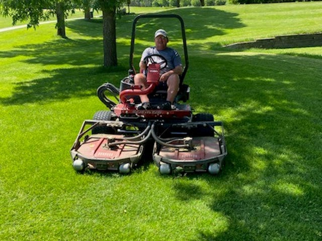 Former Brandon Mayor Larry Beesley is now part of the mowing crew at the Brandon Golf Course.