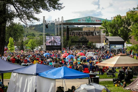 The two-day Hills Alive Christian music festival, shown here in 2019, draws an estimated 20,000 people per day to downtown Rapid City for free concerts each July. Due to COVID-19, the 2020 event was cancelled.