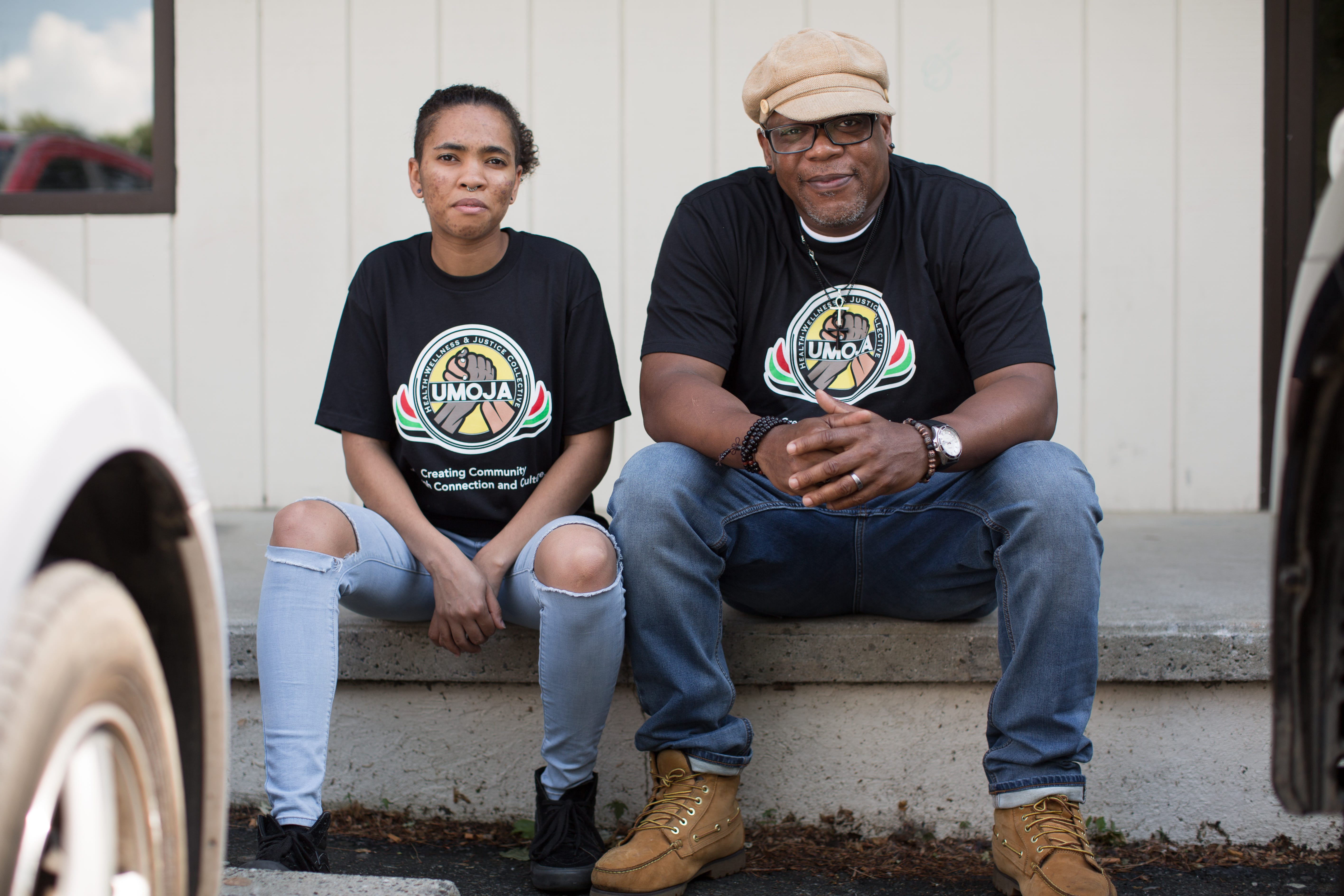 Michael Hayes and Ajax Ravenel posed for a portrait at Umoja Health, Wellness and Justice Collective in Asheville, NC, on June 4, 2020.