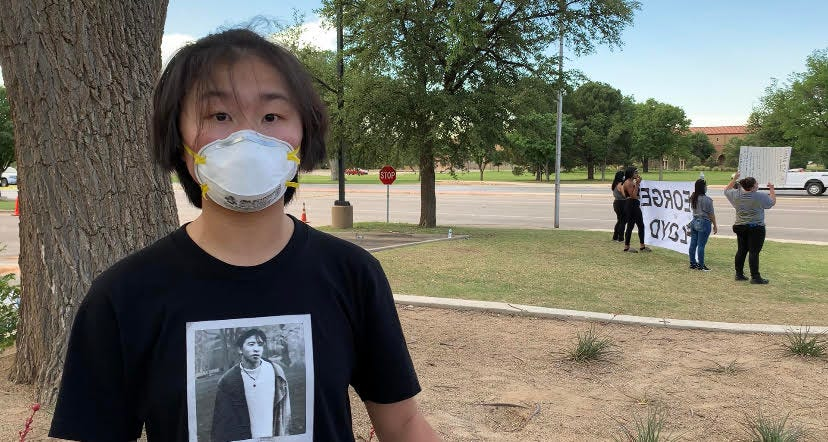 Hairuo Yi, a Lubbock High School student in Texas who organized a George Floyd protest.