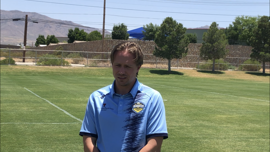 El Paso Locomotive coach Mark Lowry speaks to the media Friday, June 5, 2020, in his first in-person public appearance at a team event since March 10.