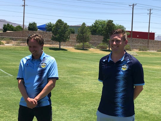 El Paso Locomotive coach Mark Lowry, left, and General Manager Andrew Forrest speak to the media Friday, June 5, 2020, in their first in-person public appearance at a team event since March 10.