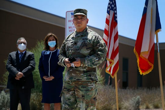Javier Rosales, commander of the 3-133rd Field Artillery Battalion of the Texas Army National Guard, thanks Rio Vista Behavioral Health for the new military and veterans unit Friday, June 5, in El Paso. This unit was created for healing military and veterans who have served or are currently serving in any branch of military.