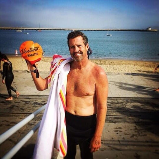 Ventura College swim coach Larry Baratte completed the Alcatraz Sharkfest Swim in June 2014, nine months after his first brain surgery.