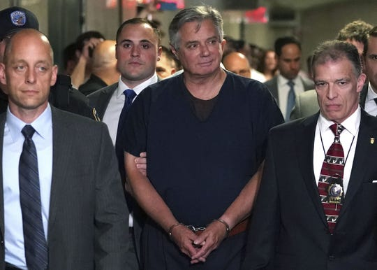 In this file photo US President Trump's one-time campaign manager Paul Manafort arrives at Manhattan Supreme Court June 27, 2019 for his arraignment on mortgage fraud charges. - President Donald Trump's one-time 2016 election campaign chairman Paul Manafort was released from prison to protect him from the coronavirus threat, his lawyer said May 13, 2020. The longtime Republican political consultant, 71, was sentenced last year to seven and a half years in jail for tax crimes, bank fraud and conspiracy charges, mostly relating to his business dealings in Ukraine with Russia-allied politicians and tycoons. (Photo by TIMOTHY A. CLARY / AFP) (Photo by TIMOTHY A. CLARY/AFP via Getty Images) ORIG FILE ID: AFP_1RI3FJ