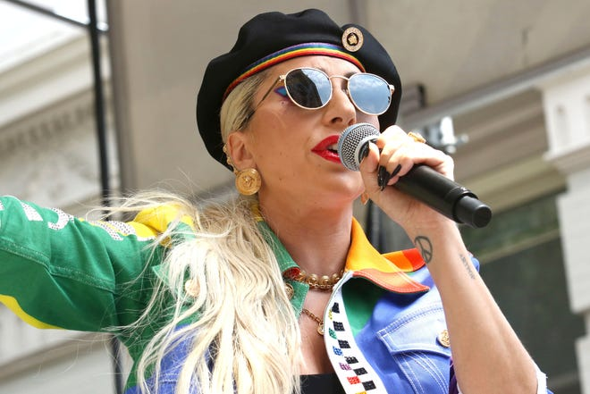 Lady Gaga performing at a Pride celebration in New York last June. The singer's 'Chromatica' debuted at No. 1 on the Billboard 200 album chart Sunday.
