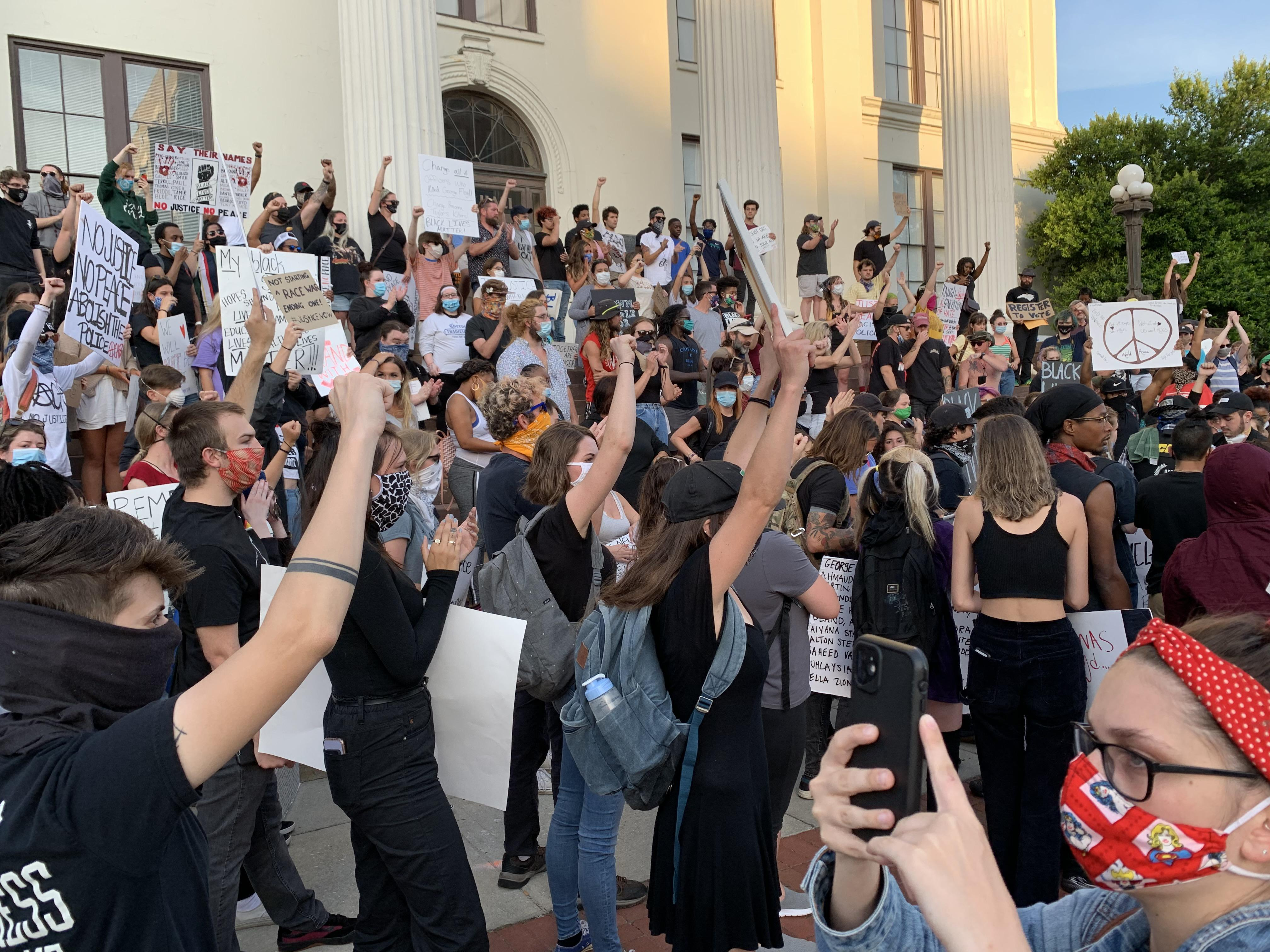 Protesters unite at City Hall in Wilmington for another day of demonstrations June 2 in the wake of the death of George Floyd.