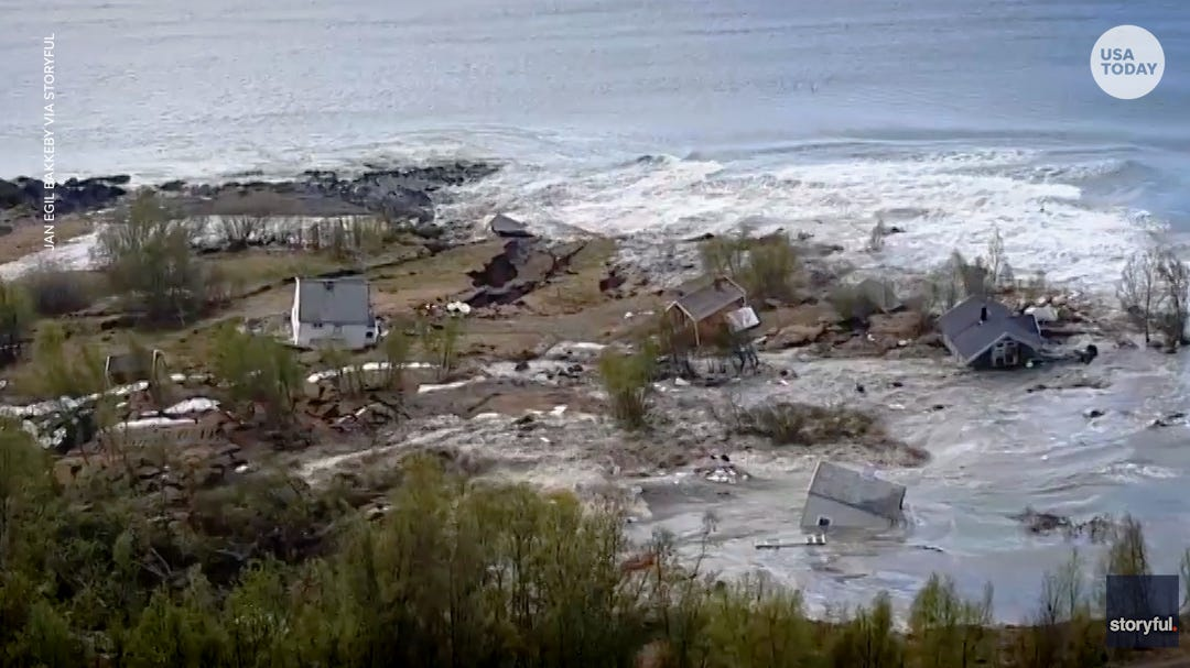 2,000 foot wide landslide drowns coastal homes in arctic sea, lucky dog saved