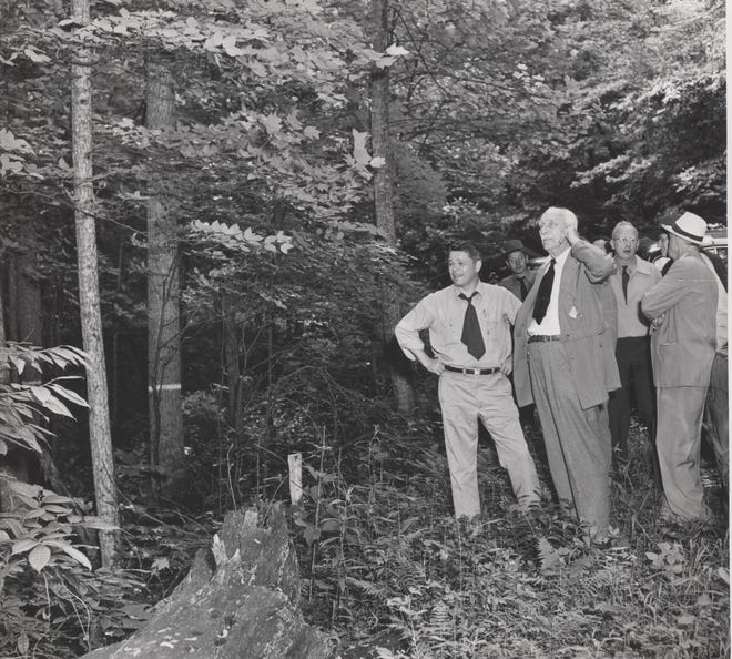 Carl Alvin Schenck, third from left in this 1951 photo, founded America's first school of forestry in 1898 in Asheville.