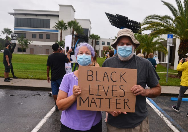 More than 100 people showed up at Palm Bay City Hall at noon Saturday for a peaceful Black Lives Matter protest. The majority of the crowd were young adults, who took turns speaking to the group.