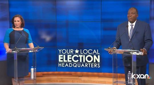 MJ Hegar, left, and Royce West in the Democratic U.S. Senate runoff, June 6, 2020.