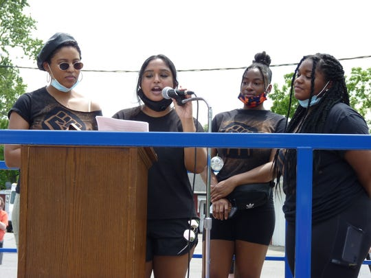 Erene Olson, left, Jasmine Ali, Aaliyah Wideman and Kiera Brown, who organized the Sayreville Black Lives Matter rally.