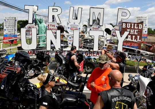 Bikers parked their motorcycles in front of the Trump Unity float while waiting for the rally to start on Saturday, June 6, 2020.Over 500 people participated in a Trump road rally from Ira to Shelby Township, Michigan Many motorcycles, cars and trucks caravanned to a meeting point at 23 Mile and Van Dyke where speakers talked to the large crowd.