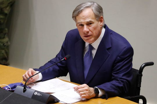 In this Tuesday, June 20, 2020 file photo, Texas Gov. Greg Abbott speaks at a news conference at city hall in Dallas.