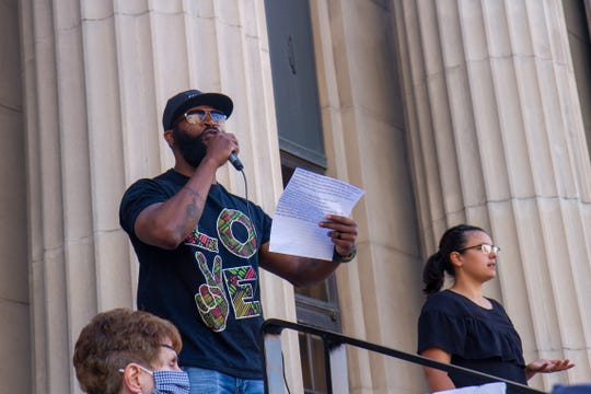 Billy Gaines addressed the crowd as a featured speaker at the National Day of Action for Black Lives Matter protest in Great Falls on Friday June 5, 2020.