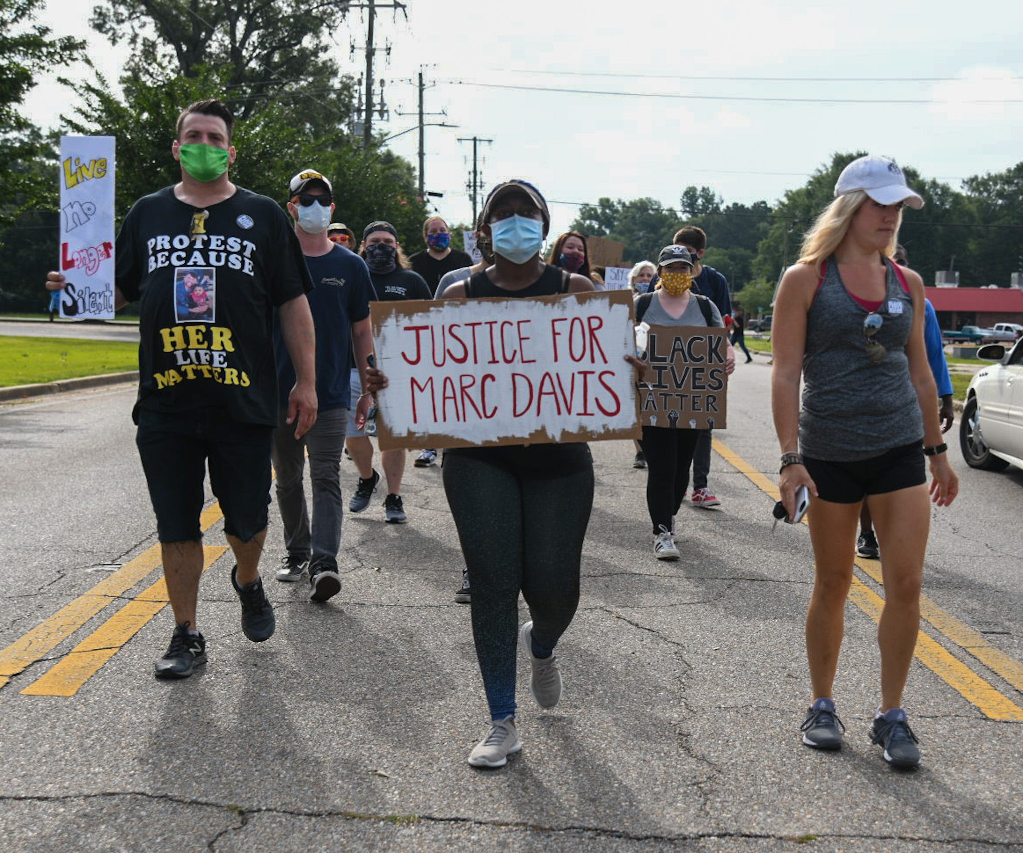 Protesters take part in a unity walk starting at Petal City Hall in Petal, Miss., on June 6, 2020.