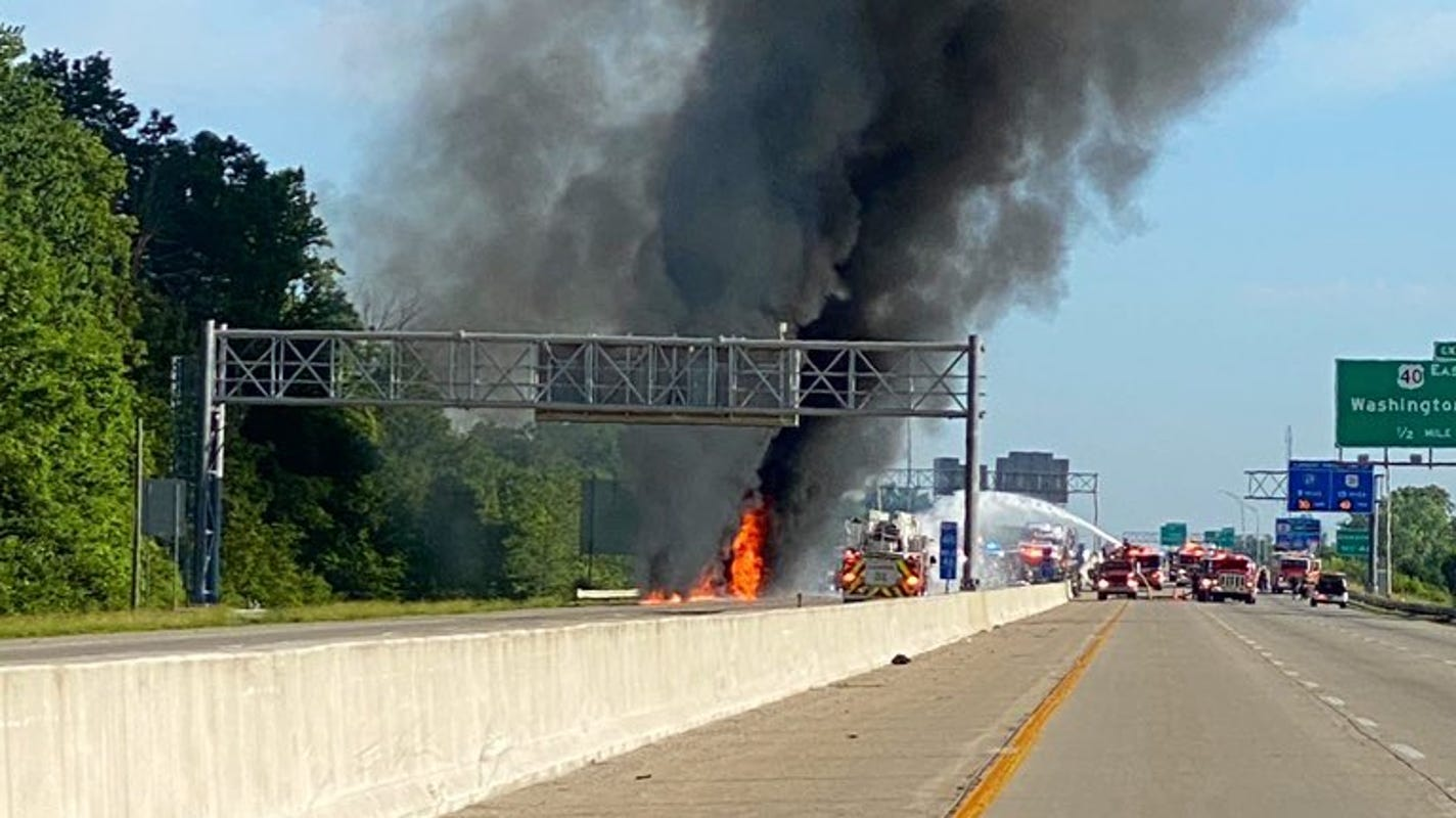 Portion of 1-465 closed on east side due to tanker fire